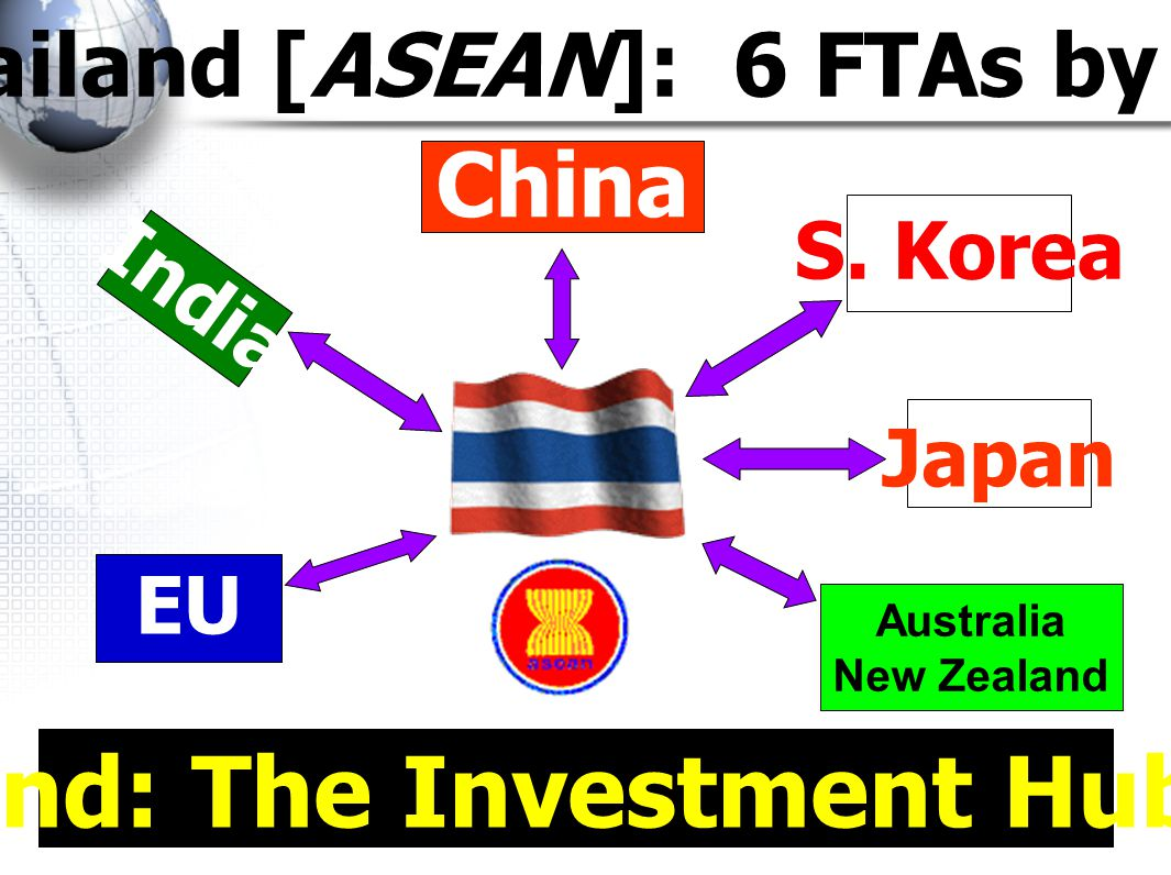 Thailand [ASEAN]: 6 FTAs by 2010 Thailand: The Investment Hub